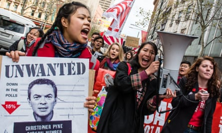Sydney students rally and march against Abbott government's budget proposals.