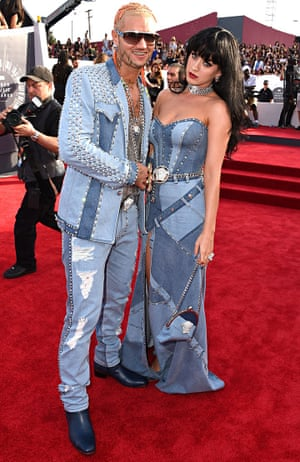 Riff Raff and Katy Perry arrive to the 2014 MTV Video Music Awards