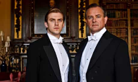 Dan Stevens as Matthew Crawley and Hugh Bonneville as the Earl of Grantham in Downton Abbey