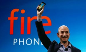 Jeff Bezos holding the Amazon Fire Phone at the launch in July.
