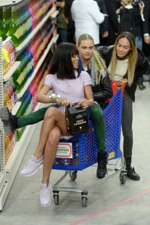 Rihanna, Cara Delevigne and Joan Smalls at the Chanel show