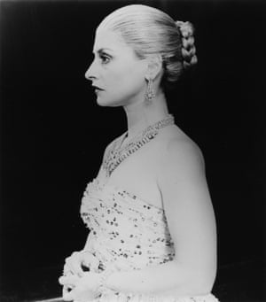 1979: Patti LuPone performs on stage during the stage play Evita.
