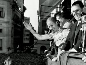 Argentinian President Juan Peron, and his wife Eva, wave from the balcony of Casa Rosada Government House, in Buenos Aires in 1950 as Argentina celebrated Loyalty Day.  (