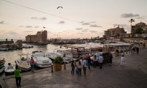 The harbour at Byblos, which is a focus for tourists, and surrounded by restaurants and bars.