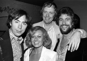 1979: Andrew Lloyd Webber, Tim Rice, with two of the stars of the production Elaine Page and Gary Bond at an after show party.