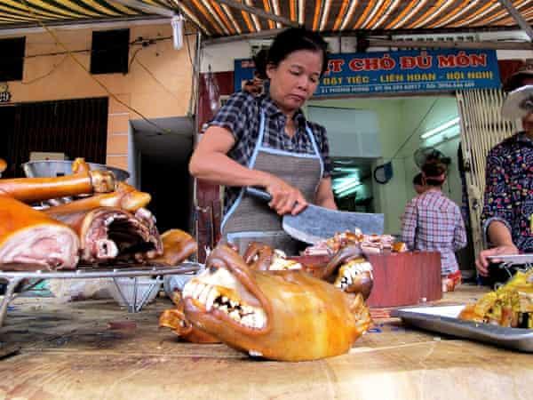 Dog meat stall in Hanoi