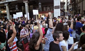 Protesters in Valladolid with bras