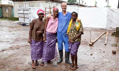 Will Pooley in Sierra Leone with local people who recovered