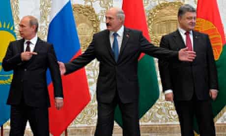 Vladimir Putin, Petro Poroshenko, Alexander Lukashenko in Minsk