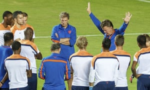 Louis Van Gaal addresses Holland's players during the World Cup in Brazil.