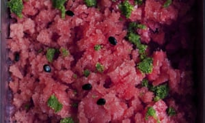 watermelon granita with herb sugar