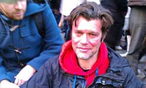 Mike Firth after being sprayed in face with CS gas during a UK Uncut protest outside Boots in Januar