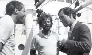 Sir Ranulph Fiennes and Charlie Burton (left) with Prince Charles aboard the MV Benjimin Bowring on