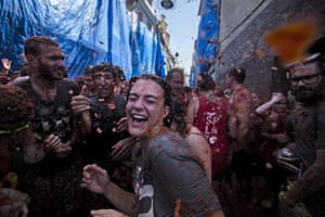 Young people take part in La Tomatina in Buñol