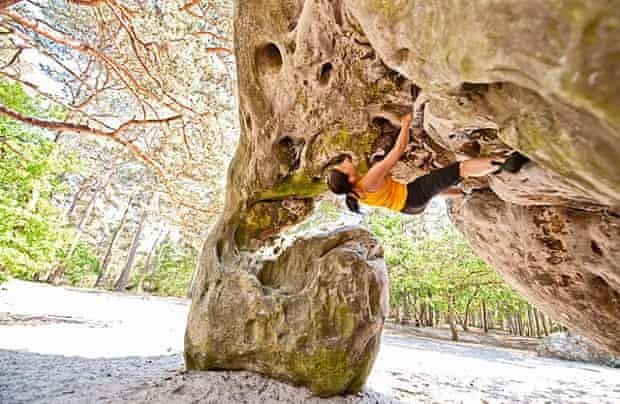 Climber on a steep slope