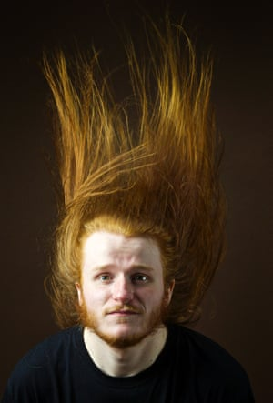 Calum McCruden, 21, Student of Applied Maths, from Glasgow.'If it's really really sunny, it's vibrant ginger but in the winter time it's a darker colour. It changes with the seasons. The long hair I have had for the last 5 years. It's really warm during winter but it's a bit of a hassle to deal with sometimes. Useful at gigs for friends to spot me in the crowd.'