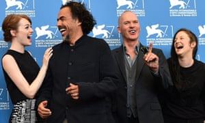 Emma Stone, Alejandro Inarritu, Michael Keaton and Andrea Riseborough at the Birdman photocall