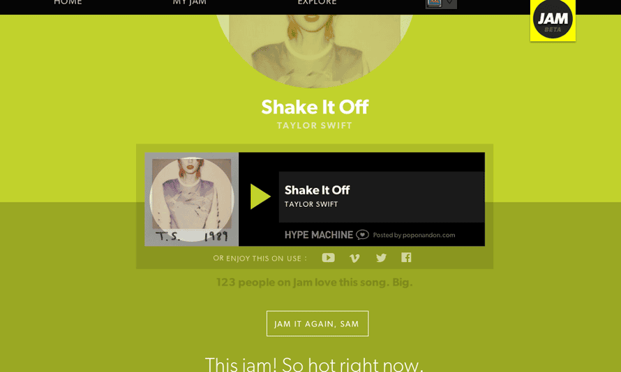"The song page for Taylor Swift's new single, ""Shake It Off""."