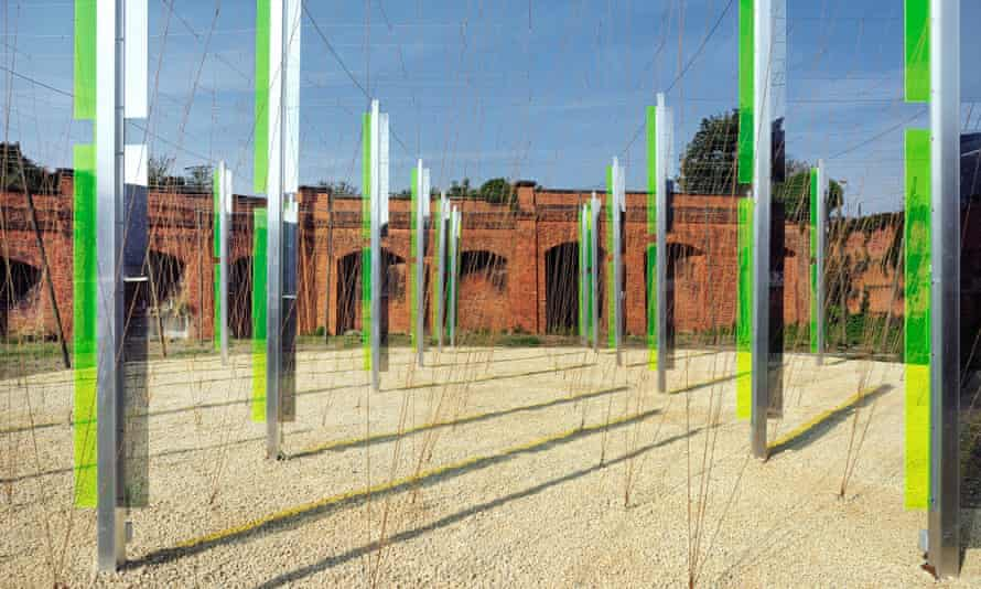 Jyll Bradley's Green/Light sculpture in a disused gasworks.