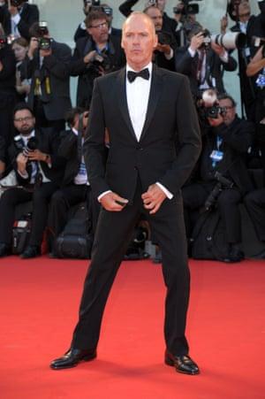 Birdman star Michael Keaton strikes a pose for the waiting photographers. Photograph: Corbis