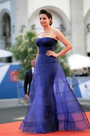 Italian actor Luisa Ranieri in a sheer hooped purple organza dress. Photograph: Claudio Onorati/EPA