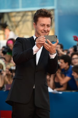 Is Birdman actor Edward Norton taking a photo of the photographers, or a red carpet selfie? Photograph: Pascal Le Segretain/Getty Images