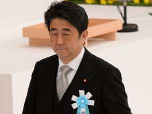 Shinzo Abe wrote a message praising convicted Japanese war criminals as martyrs.