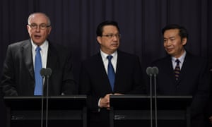 The Australian deputy PM, Warren Truss, the Malaysian transport minister, Liow Tiong Lai, and China's vice-minister for transport, He Jianzhong, give latest details of the search for MH370
