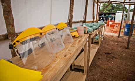 Protective equipment used by health workers in the Ebola isolation ward