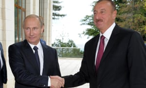 Azerbaijan's president Ilham Aliyev (right) with Russia's President Vladimir Putin this month.