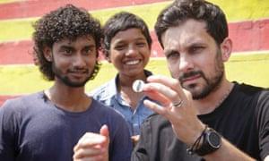 Gagan Kumar and Lucky Roy with Dynamo in Varanasi, India.