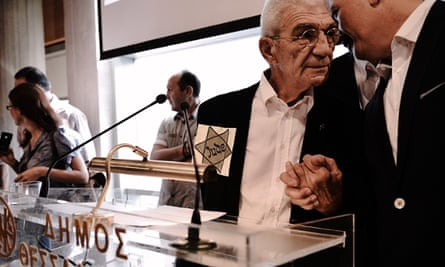 Yiannis Boutaris wears a Jewish star during the swearing-in ceremony at the City Hall