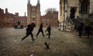 The schoolyard of Eton College. The potential for success can even date as far back as the social background of the child's grandfather, the report suggested.