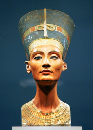 View of the bust of one of history's great beauties, Queen Nefertiti of Egypt