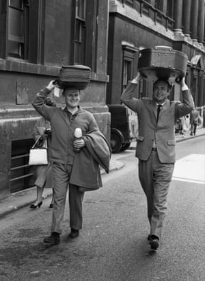 Yehudi Menuhin and Maurice Grendon on their way to rehearsals at the Bath festival