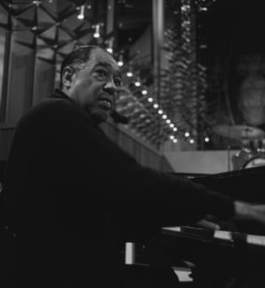 Duke Ellington playing piano in Coventry Cathedral, 1968