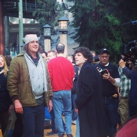 Jason Segel as David Foster Wallace, and Jesse Eisenberg as David Lipsky on set for The End of Tour