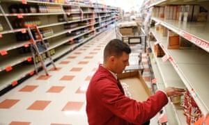 US Money Market basket empty shelves restocking