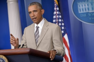 US President Barack Obama speaks in the White House Briefing Room on August 28, 2014, in Washington, DC.