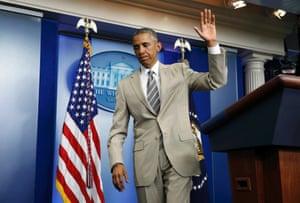 U.S. President Barack Obama departs