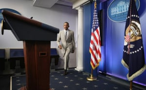 WASHINGTON, DC - AUGUST 28:  U.S. President Barack Obama approaches the podium to make a statement at the James Brady Press Briefing Room of the White House August 28, 2014 in Washington, DC. President Obama spoke on various topics including possible action against ISIL and immigration reform.  (Photo by Alex Wong/Getty Images) Politics