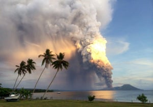 Mount Tavurvur erupting in eastern Papua New Guinea, spewing rocks and ash into the air, forcing the evacuation of local communities and international flights to be re-routed. Mount Tavurvur, which destroyed the town of Rabaul when it erupted simultaneously with nearby Mount Vulcan in 1994, rumbled to life early in the morning on the tip of the remote island of New Britain.