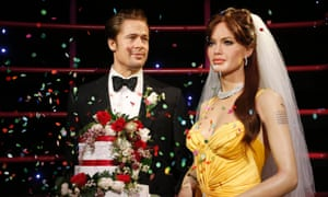 Wax models of actors Brad Pitt and Angelina Jolie at Madame Tussauds attraction in Sydney, August 29, 2014.