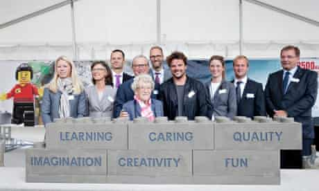 The Lego family at the laying of the foundation stones for the new Lego House in Billund, Denmark