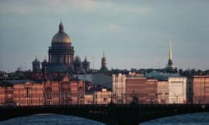 The Troitsky Bridge across the Neva River in St Petersburg