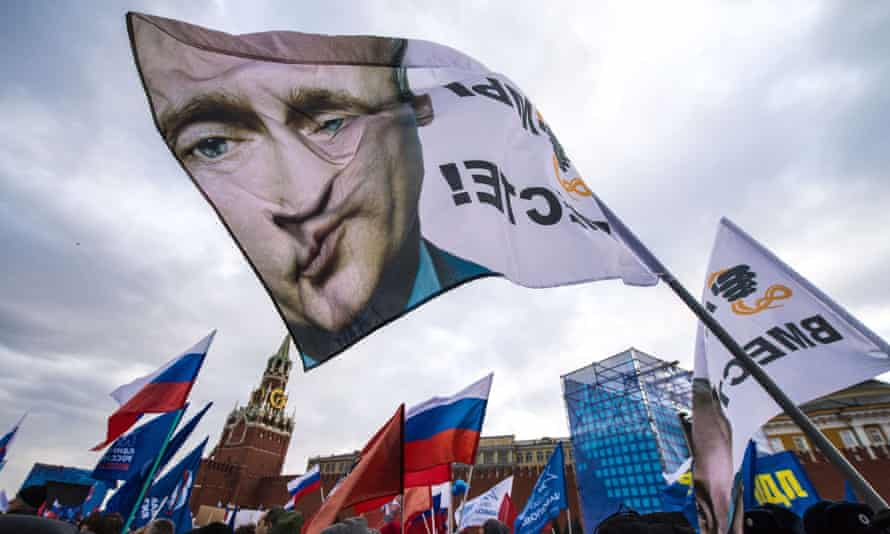 Pro-Kremlin activists rally at the Red Square in Moscow in March to celebrate the incorporation of Crimea.