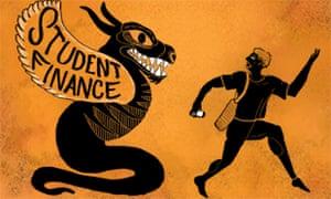 student runs from student finance lizard