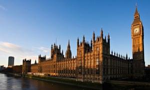 Big Ben Houses of Parliament River Thames at sunrise Westminster London England United Kingdom