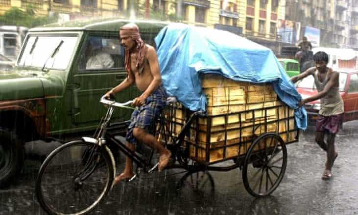 A cycle rickshaw in Calcutta, India