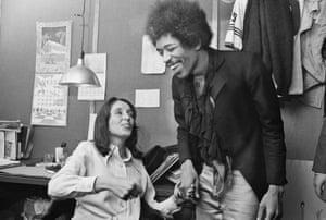Joan Baez and rock singer Jimi Hendrix